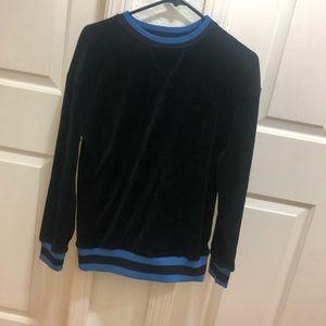 Velvet black sweater with blue varsity stripe